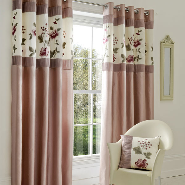 Curtain Designs for Windows Purplish Pink Curtains White Windows White Chairs Floral Cushion White Mirror