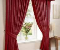 Curtain Designs for Windows Red Curtains White Windows Wooden Table White Sitting Lamp