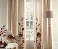 Curtain Designs for Windows Red Floral White Curtains White Standing Lamp Wooden Floor White Chair