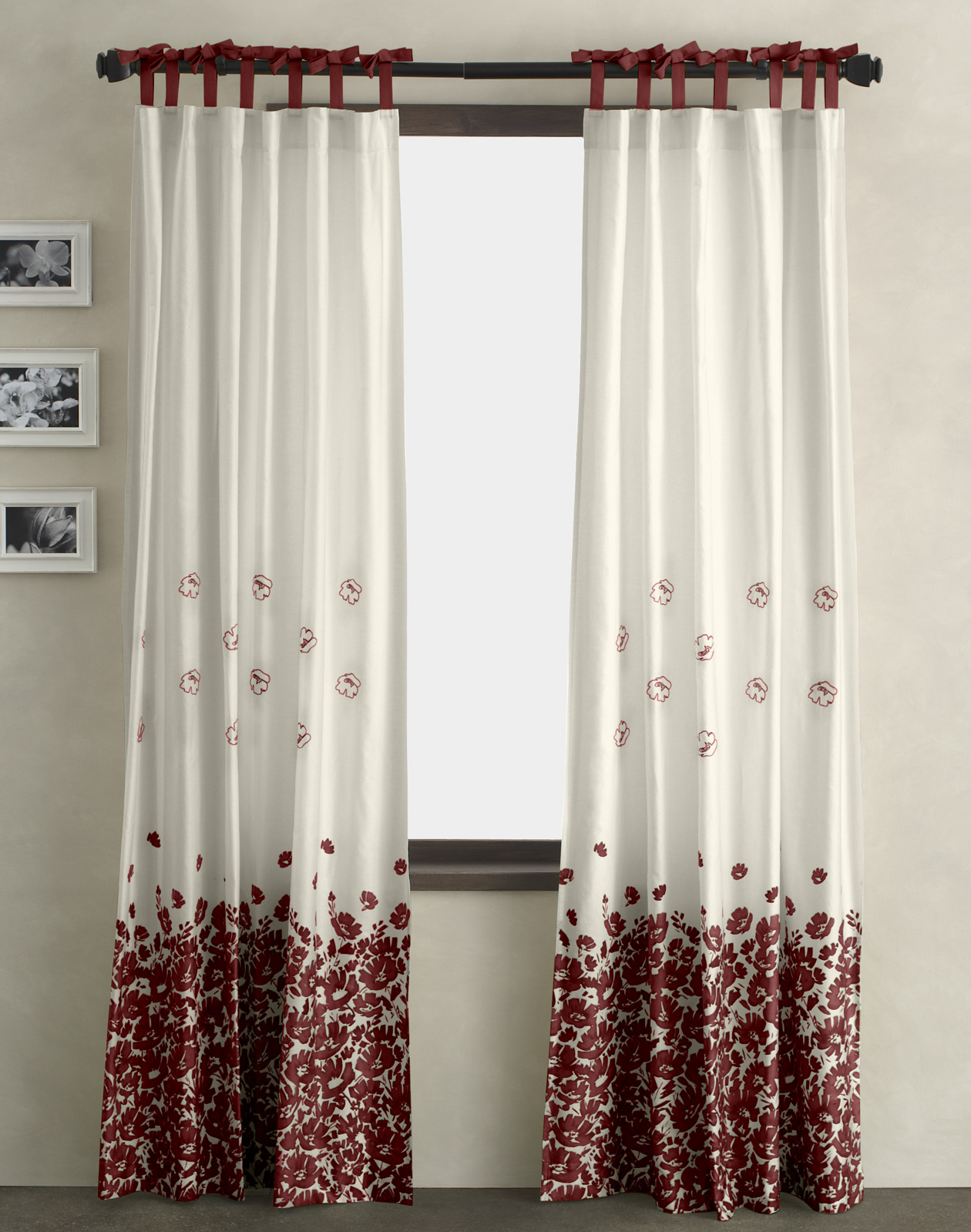 Curtain Designs for Windows White Red Floral Curtain Red Bow Curtain White Wall