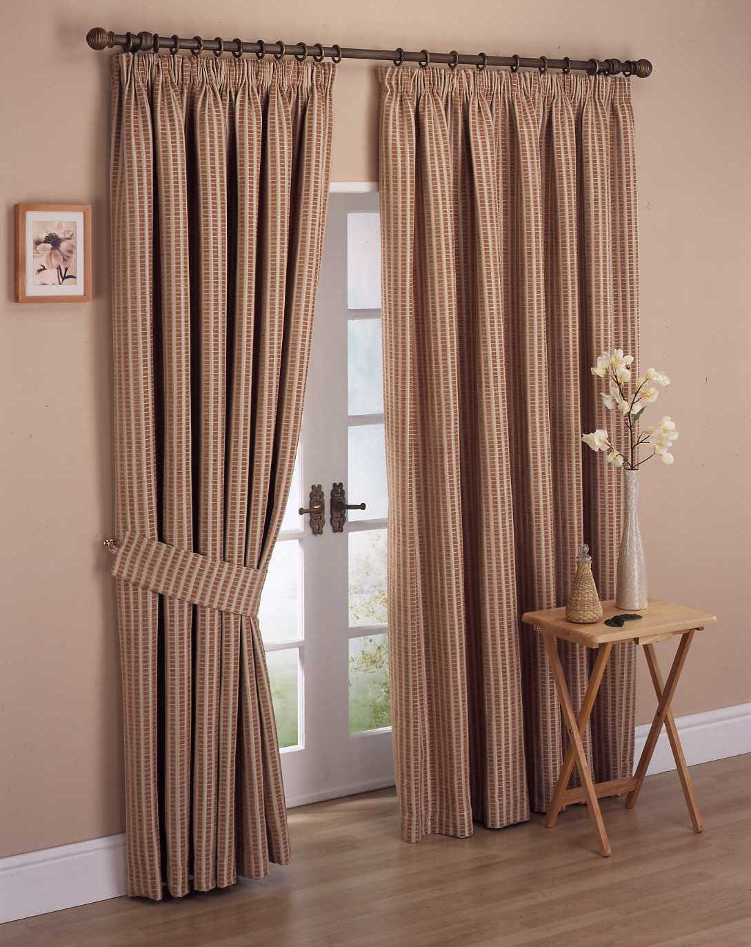 Curtain Designs for Windows Wooden Floor White Glass Door Brown Wall Brown Pattern Curtains