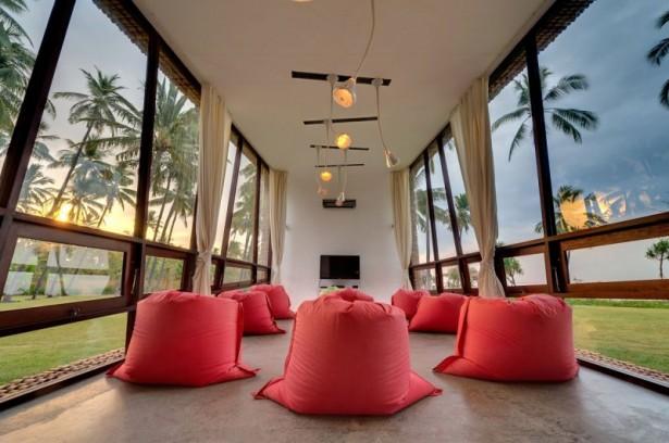 Cute red puffs Villa Sapi Unique pendant lamps Open plan living space