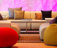 Cute round benches Glamorous sofa cushions Futuristic coffee table Cool sofas