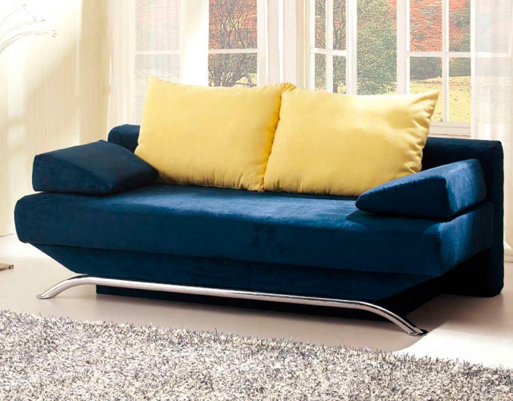 Dark Blue Sofa Metal Legs Grey Rug Yellow Cushions