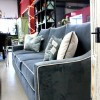 Dark Blue Sofa Velvet Touch White Cushions Grey Floor
