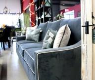 Dark Blue Sofa Velvet Touch White Cushions Grey Floor