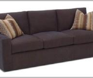 Dark Brown Sofa Mosaic Motive Cushions Three Seats Modern Look