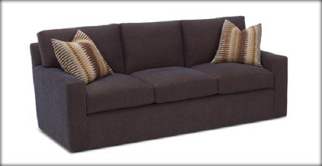 Dark Brown Sofa Mosaic Motive Cushions Three Seats Modern Look