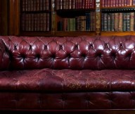 Dark Brown Sofa Wooden Shelf Classic Look Puffy Couch
