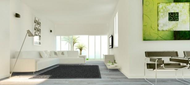 Dark Grey Rug White Sofas Cream Standing Lamp Green Painting White Wall