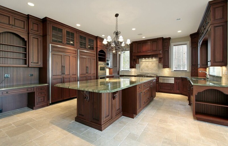 Dark Wooden Counters Green Marble Kitchen Island Ivory Color Floor Classic Chandelier