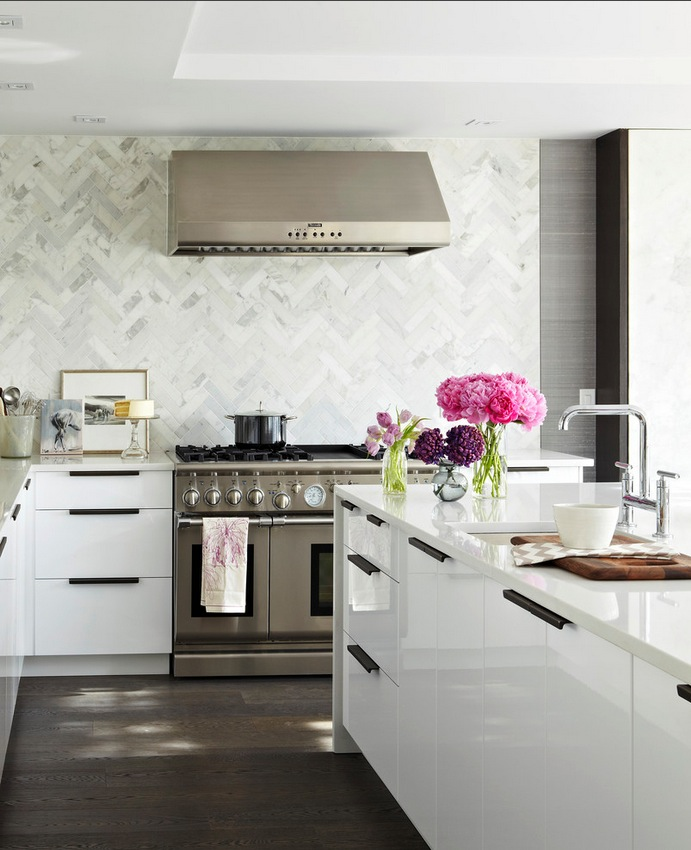 Dark Wooden Floor White Counters Conventional Stove Pink Flowers