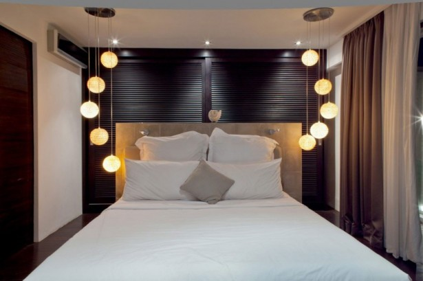 Dark-accent-bedroom-Contemporary-bed-headboard-Precious-ball-pendant-lamp-White-bed