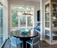 Dining Room Round Table Wooden FLoor White Window Panes