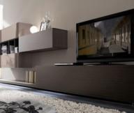 Drak brown TV setup Soft ball light Glass adornment Wall box shelf
