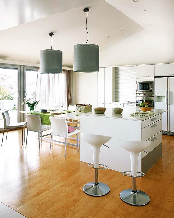 Drum pendant lamp Laminate flooring Stylish barstool Inspiring kitchen appliances