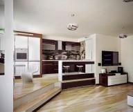 Dual Floor Level Wooden Floor Brown Door Browm Kitchen Cabinet