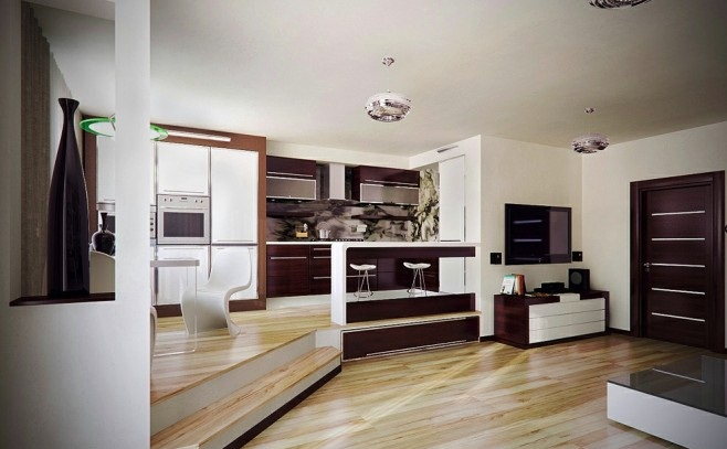 Dual Floor Level Wooden Floor Brown Door Browm Kitchen Cabinet