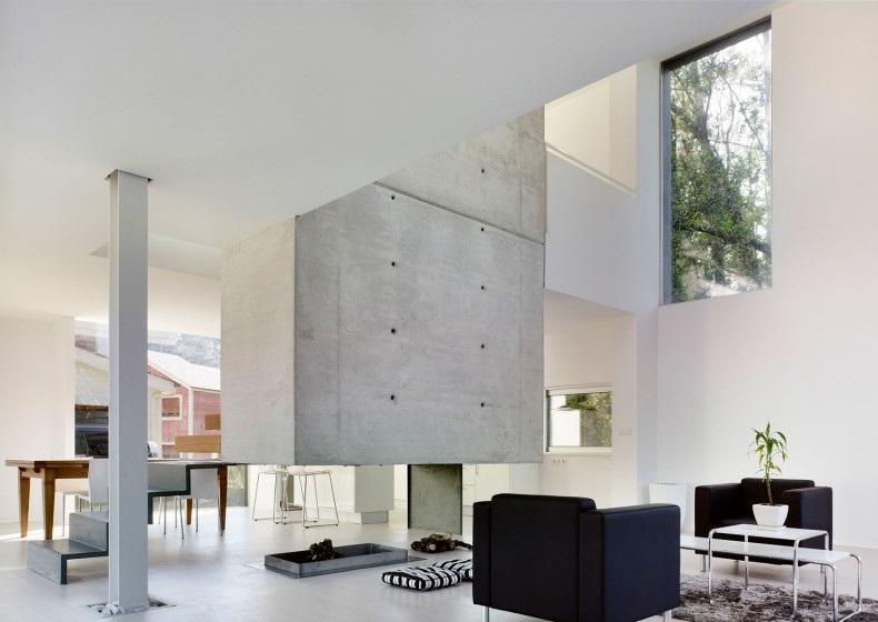 EINS house Bright white theme interior Black sofa Indoor plant