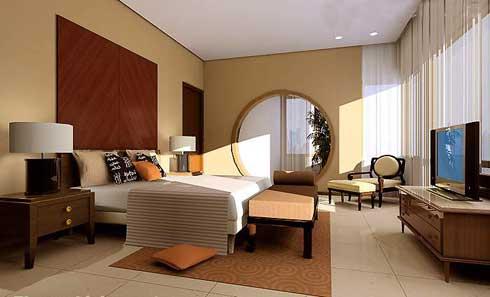 Elegant-headboard-Circular-bedroom-decoration-Wooden-TV-setup-Low-profile-bed