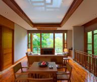 Ethnic pattern railing Laminate flooring Modern floor lamps Wooden furniture