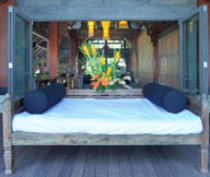 Exclusive  Beach Villas for terrace wooden floor white sofa bed The Lush Jungle