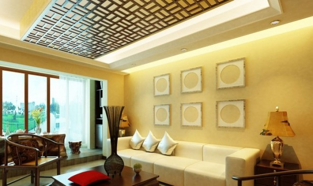 Exercise in Interior Adaptation asian-inspired-wall-art-wooden table