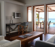 Exotic Getaway Resort for Breezy-Living small wooden table Caribbean Sea