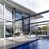 Exterior swimming pool Robert Street house Glass bay window