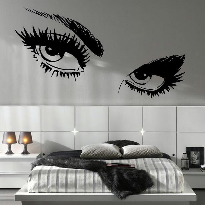 Eye Monochrome Wallpaper White Tiles Grey Sitting Lamps White Bed White Cabinets