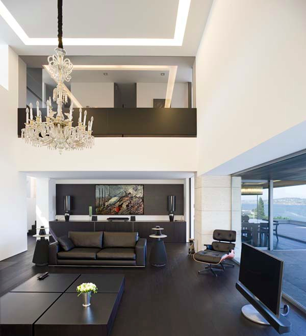 Fantastic chandelier Box coffee table Elegant black sofa Simple TV setup