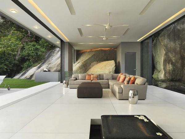 Fantastic hidden light Open plan living room Box coffee table Grey sectional sofa
