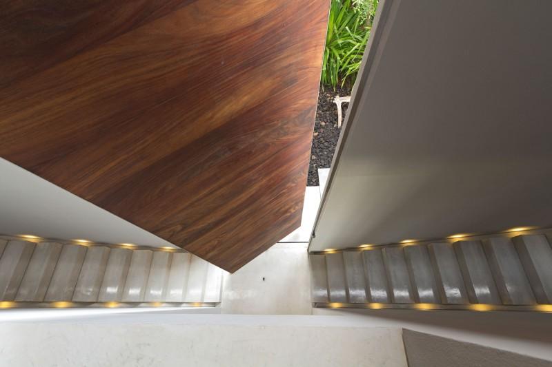 Fascinating hidden light La punta house Sleek marble stair steps