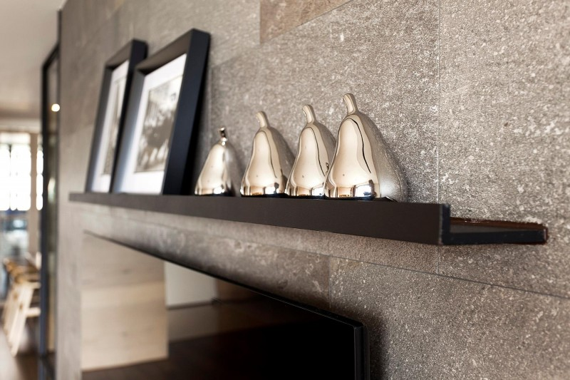 Fertility design apartment Shiny adornment Stone beadboard Black wall bars