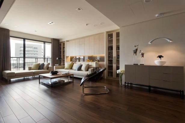 Fertility design apartment Wooden floor Glass bay window White bed sofa
