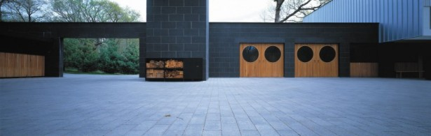 Flat Roof Black Wall Grey Floor TImber Rack