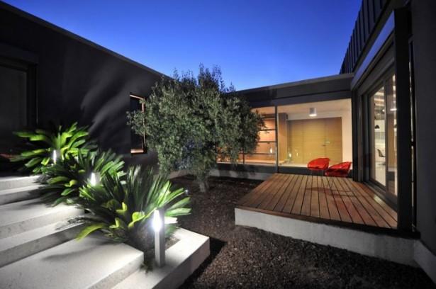 Flat Roof Wooden Floor Wide Windows Grey Wall