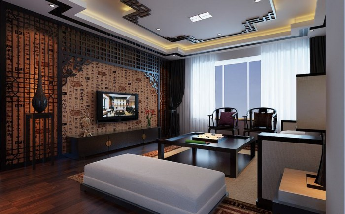Flat Screen Chinese Feature Wall Lounge Exercise In Interior Adaptation