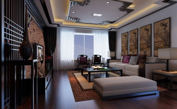 Flat Screen Chinese Feature Wall Modular Lounge Exercise In Interior Adaptation