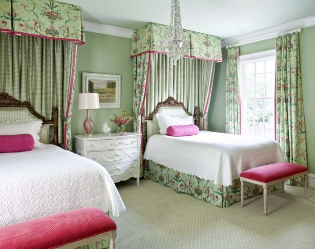 Floral Green Curtain Pink Bed Bench White Cabinet Classic Chandelier