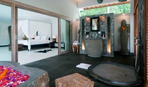 Flower Bath Wooden Bath Up White Bedroom Black Floor