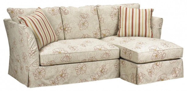 Flowery Motive Beige Color Stripes Cushions Three Seats