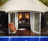 Folding chair Roof ridge Elegant swimming pool Wooden deck