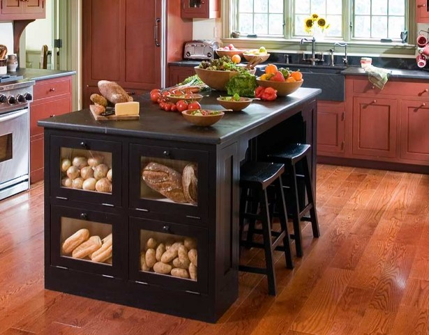 Food Racks Black Kitchen Island Black Bar Stools Woodne Floor