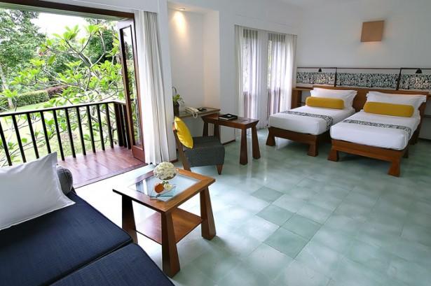 Frangipani Tree Green Lawn White Bed Sheet Dark Blue Sofa