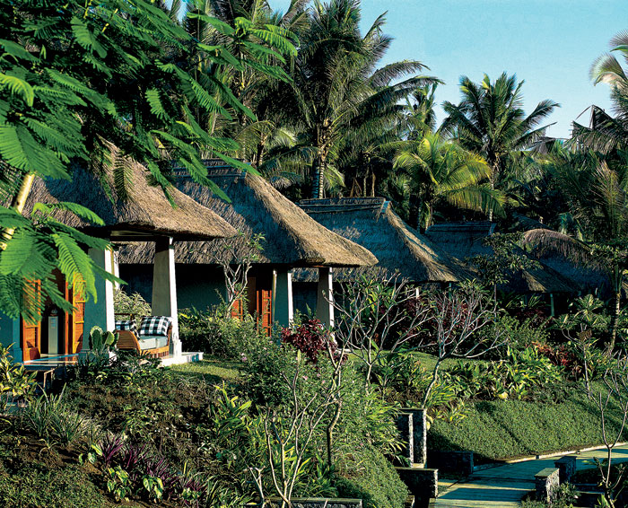 Frangipani Trees Coconut Trees Thatch Roof Green Lawn
