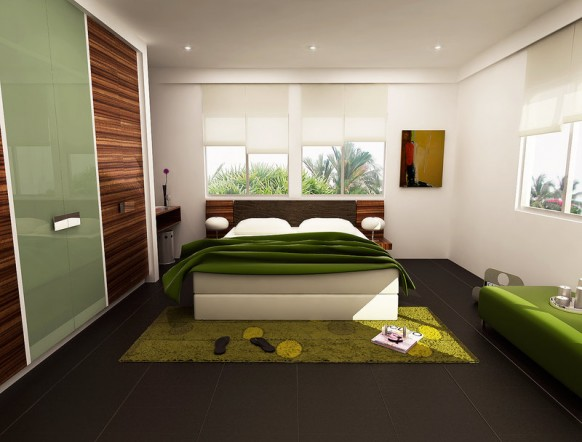 Fresh Green Color Bedrooms black floor green blanket