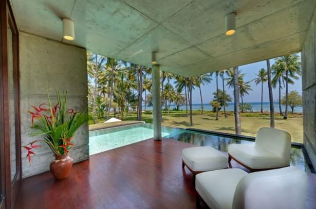Fresh indoor plant Cozy patio Villa Sapi Inspiring ceiling lights