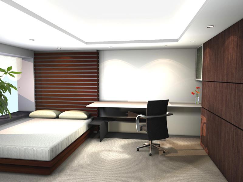 Fresh-indoor-plant-Fascinating-hidden-light-Geometric-bed-headboard-Low-profile-bed