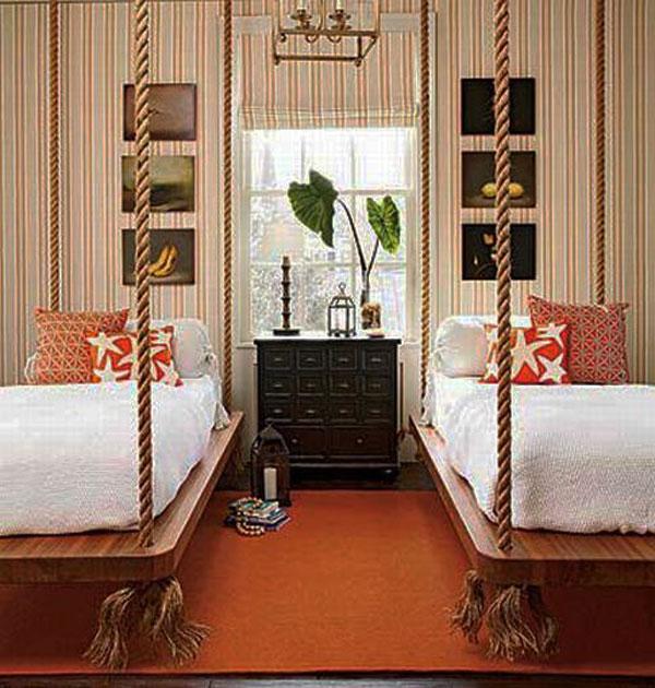 Fresh-indoor-plant-Stripes-wallpaper-Unique-floating-beds-Cushy-mattress